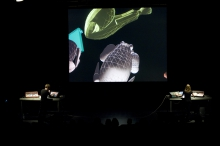 """Picture of """"DONJON"""", performance by Cécile Babiole and Vincent Goudard"""