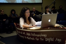 "Picture of Vanessa Ramos-Velasquez at ""Digital Anthropophagy and the Anthropophagic Re- Manifesto for the Digital Age Presentation"""