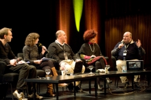 "Picture of ""Radio Tactics"" with Eric Kluitenberg, Geraldine de Bastion, Douglas Arellanes, Diana McCarty and Jonathan Marks (left to right)"