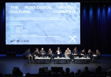 "Picture of Nishant Shah, Clemens Apprich, Oliver Lerone Schultz, Anne-Cécile Worms, Kristoffer Gansing, Volker Reimar, Ruth Catlow, Ben Vickers, Pieterjan Grandry and Valentina Karga at ""The Post-Digital Review: Cultural Commons"""