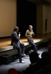 """Picture of Marcel Schwierin (left) in conversation with Christian von Borries (right) after the screening """"The Capitalist Religion"""""""