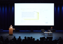 "Picture of McKenzie Wark (left) and Ruth Catlow (right) at ""Keynote Capture All_Play"""