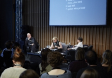 "Picture of Matteo Pasquinelli, Pinar Yoldas and Marie-Luise Angerer (left to right) at ""Devices of Affective Surveillance"""