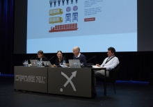 """Picture of Laurel Ptak, Mercedes Bunz, Ned Rossiter and Trebor Scholz (left to right) at """"Your Future at Work: Logistics, Rights and Dilemmas"""""""