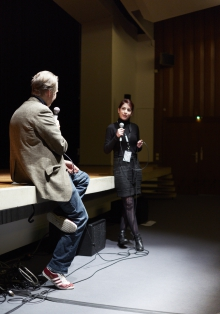 """Picture of Marcel Schwierin (left) in conversation with Dionysia Mylonaki (right) after the screening """"The new Language"""""""