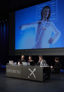"Picture of Mark Butler, Jennifer Whitson, Paolo Ruffino and Daphne Dragona (left to right) at ""All Play and No Work: The Quantified Us"""
