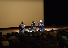 """Picture of Marcel Schwiering in conversation with Karen Mirza and Klaus vom Bruch (left to right) after the screening of """"Cruel Narrations"""""""