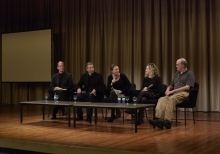 """Picture of Thomas Drake, James Spione, Sarah Harrison, Jesselyn Radack and William Binney (left to right) at """"Freedom of Information in Reverse: A Screening and Discussion of SILENCED"""""""