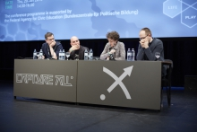 "Picture of Felix Stadler, Matteo Pasquinelli, Antoinette Rouvroy and Evgeny Morozov (left to right) at ""All Watched Over by Algorithms"""