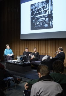 """Picture of Jens Hauser, Paul Feigelfeld, Tuur Van Balen and Tobias Cheung (left to right) at """"Made to Measure"""""""
