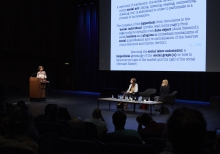 "Picture of Tiziana Terranova, Carolin Gerlitz and Judy Wajcman (left to right) at ""Keynote Capture All_Work"""