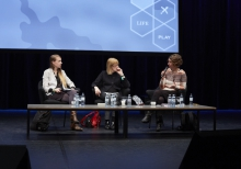 "Picture of Carolin Gerlitz, Tiziana Terranova  and Judy Wajcman (left to right) at ""Keynote Capture All_Work"""