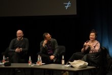 "Picture of Keynote Conversation ""Anxious to Act"" with Oliver Lerone Schultz, Nicholas Mirzoeff and Hito Steyerl (left to right)"