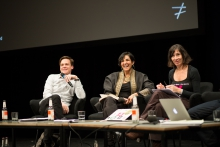 "Picture of Clemens Apprich, Heba Y. Amin and Simona Levi at the panel ""MediaActs"""