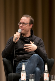 """Picture of Markus Beckedahl at the panel """"Let's talk about Whistleblowing!"""""""