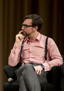 """Picture of Jacob Appelbaum at the panel """"Let's talk about Whistleblowing!"""""""