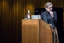 """Picture of Keller Easterling at the Keynote Conversation """"Anxious to Share"""""""