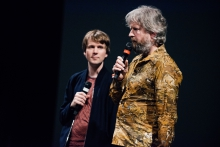 """Picture of Kristoffer Gansing (left) and Remco Schuurbies introducing the performance/installation """"Still Be Here"""""""