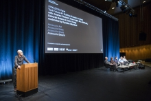 """Picture of Krystian Woznicki introducing the panel """"Tacit Futures #1: Building Snowden Archives"""""""