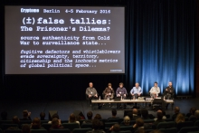 """Picture of Deborah Natsios & John Young, M.C. McGrath, Evan Light, Andrew Clement and Krystian Woznicki at the panel """"Tacit Futures #1: Building Snowden Archives"""""""