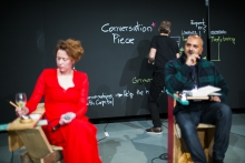 """Picture of Teresa Dillon (left) and Ed D'Souza (right) at """"Superschool: Conversation Starter"""""""