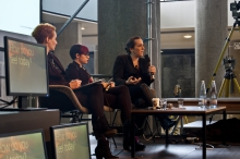 Picture of artist Talk with Diani Barreto, Eleanor Saitta and Penny Red (left to right)
