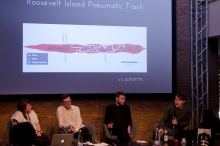 """Picture of Lisa Baldini, Sam Hart, Stephen Fortune and Julian Oliver (left to right) at """"The Digital Wasting Deception"""""""