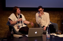 """Picture of Lisa Baldini (left) and Sam Hart (right) at """"The Digital Wasting Deception"""""""