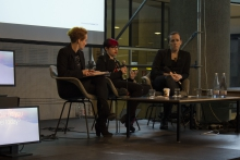 Picture of an artist talk with Diani Barreto, Eleanor Saitta and Penny Red (left to right)