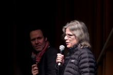 """Picture of Marcel Schwierin (left) in conversation with Alezabeth Cander Zaah (right) after the screening """"Digital Plays"""""""