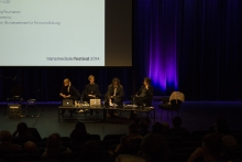 """Picture of Pinar Yoldas, Heather Davis, Bernd Scherer and Jennifer Gabrys (left to right) at """"An Ecosystem of Excess"""""""