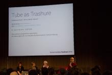 "Picture of Feona Attwood, Susanna Paasonen, Slavina and Sharif Mowlabocus (left to right) at ""Tube as Trashure"""