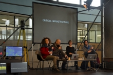 """Picture of Baruch Gottlieb, Jamie Allen, Erin La Cour and David Gauthier (left to right) at the presentation of """"CRITICAL INFRASTRUCTURE"""""""