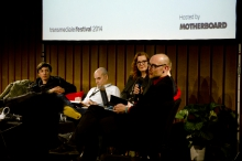 """Picture of Paolo Ciria, Mark Coré, Kate Crawford and Jussi Parikka (left to right) at """"Uses and Abuses of Big Data"""""""