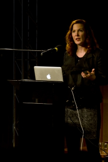 """Picture of Kate Crawford at """"Uses and Abuses of Big Data"""""""