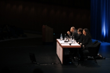 "Picture of Trevor Paglen, Jacob Appelbaum and Laura Poitras (left to right) at ""Keynote: Art as Evidence"""