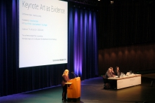 "Picture of Tatiana Bazzichelli introducing ""Keynote: Art as Evidence"""
