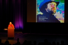"""Picture of Bruce Sterling at """"afterglow effects: transmediale 2014 opening ceremony"""""""
