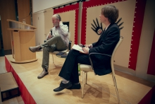 """Picture of Douglas Coupland (left) and Kristoffer Gansing (right) at the 2014 Marshall McLuhan Lecture """"Space Junk"""""""