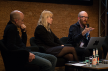 "Picture of Christopher Kirkley, Maria Roszkowska and Nicolas Maigret (left to right) at the book launch of ""The Pirate Book"""