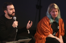 """Abelardo Gil-Fournier and Rosa Menkman at """"Machine Research – Infrastructures"""", transmediale 2017"""