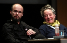 """Krystian Woznicki and Jutta Weber at """"Friendly Fire: What Is It to Re-think Radical Politics, Today?"""", transmediale 2017"""