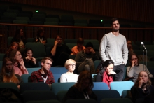Question from the audience at transmediale 2017