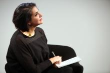 """Heba Y. Amin at the panel """"Mediterranean Tomorrows"""", transmediale 2017"""