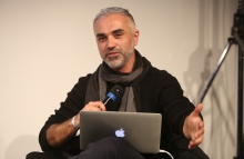 "Adrian Lahoud at the panel ""Mediterranean Tomorrows"", transmediale 2017"