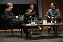 "Steve Kurtz, Diana McCarty and Johannes Paul Raether at ""Strange Ecologies: From Necropolitics to Reproductive Revolutions"", transmediale 2017"