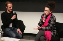 """Florian Wüst (left) in conversation with Rotraud Pape (right) at """"Technology Languages of the Past, Present, and Future"""", transmediale 2017 ever elusive."""