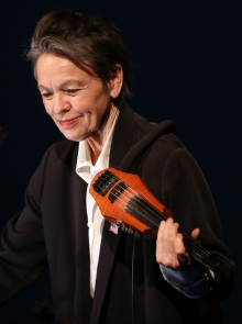 "Laurie Anderson performing ""The Language of the Future"" at transmediale 2017 ever elusive."
