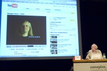 """Timothy Druckrey at the panel """"The 'Real' Conspiracy"""", transmediale 2008."""