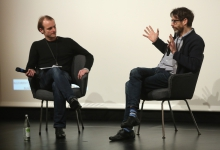 """Florian Wüst (left) in conversation with Caspar Stracke (right) after the screening """"redux/time/OUT OF JOINT"""" at transmediale 2017."""